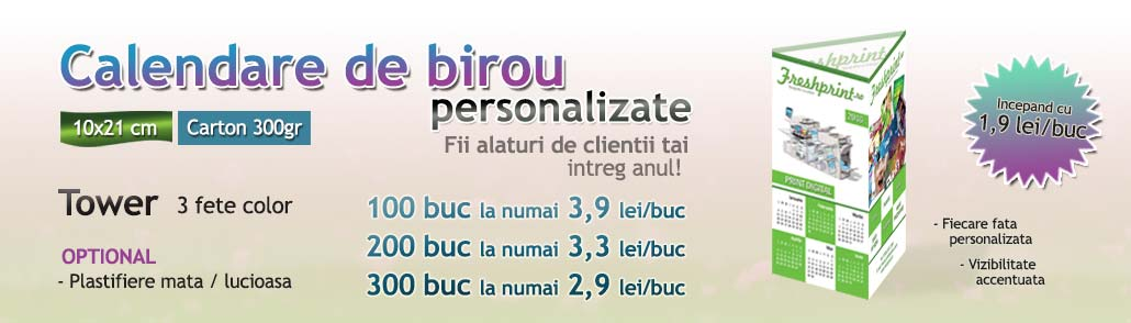 Calendare de birou: Tipografie digitala si offset